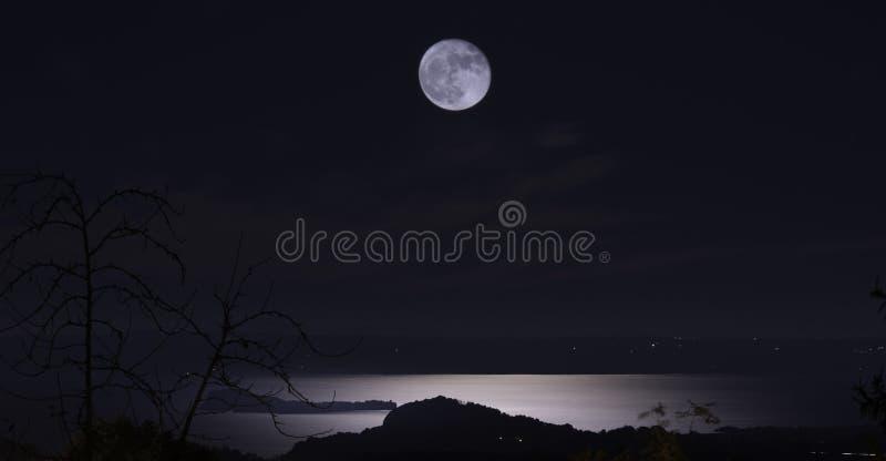 Σκοτεινή νύχτα της πανσελήνου στοκ εικόνες