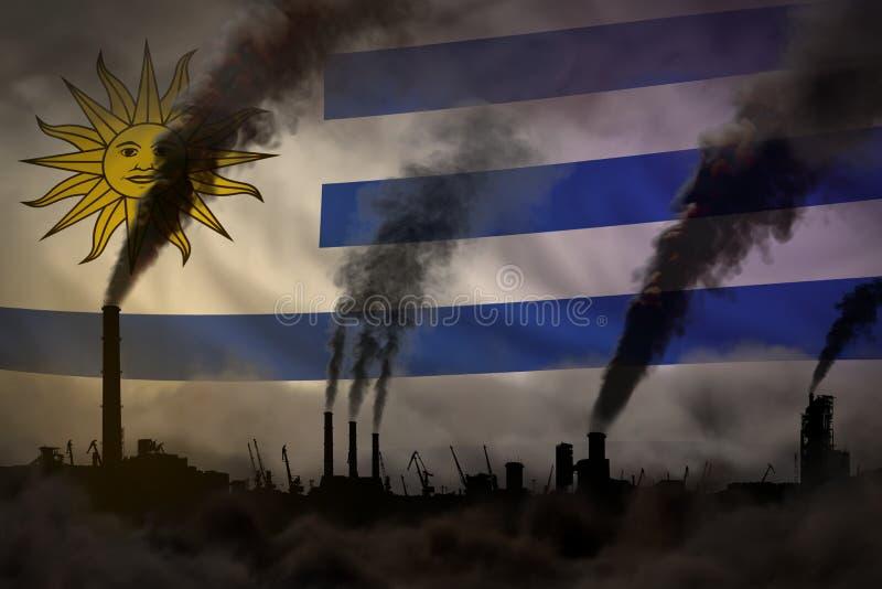 Σκοτεινή ρύπανση, πάλη ενάντια στην έννοια κλιματικής αλλαγής - η βιομηχανική τρισδιάστατη απεικόνιση των βιομηχανικών καπνοδόχων απεικόνιση αποθεμάτων