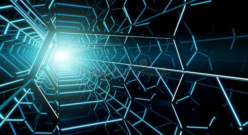 Σκοτεινή φουτουριστική τρισδιάστατη απόδοση διαδρόμων διαστημοπλοίων απεικόνιση αποθεμάτων