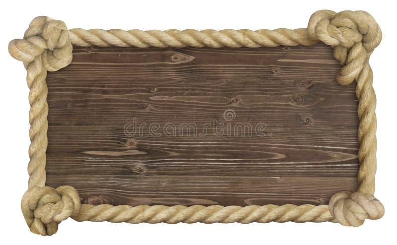Σκοτεινός θαλάσσιος ξύλινος ξύλινος αναδρομικός σχοινιών σημαδιών στοκ φωτογραφία με δικαίωμα ελεύθερης χρήσης
