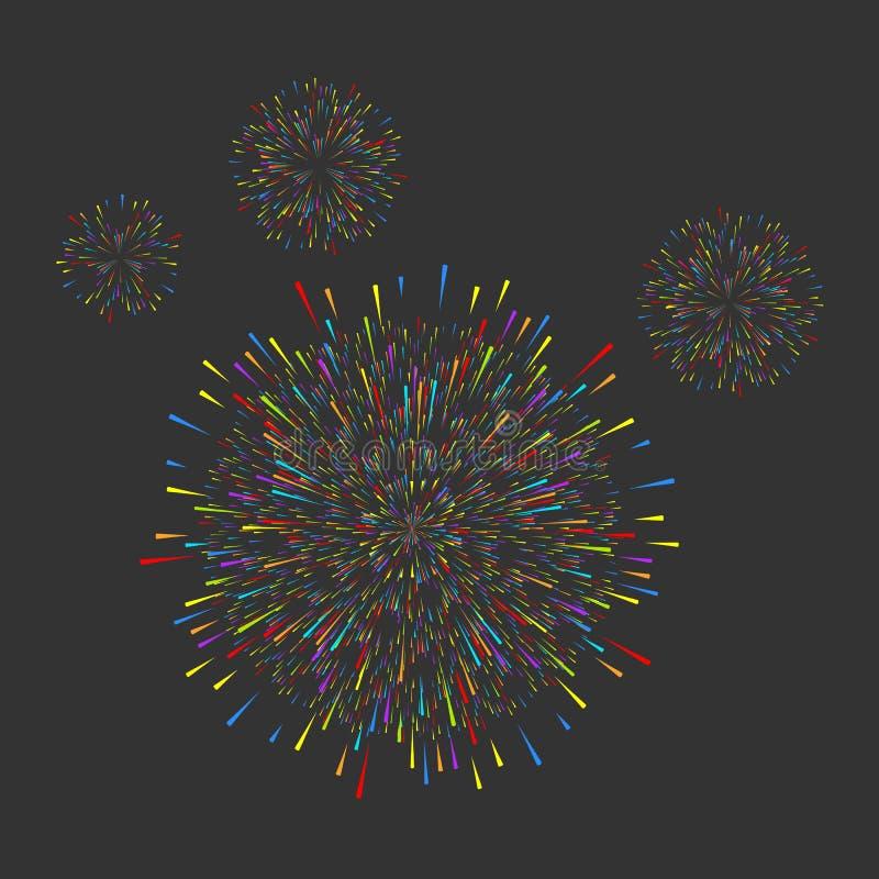 σκοτεινός χαιρετισμός πυροτεχνημάτων σχεδίου καρτών ανασκόπησης Διακοσμήσεις ευχετήριων καρτών Χριστουγέννων, καλή χρονιά, επέτει διανυσματική απεικόνιση