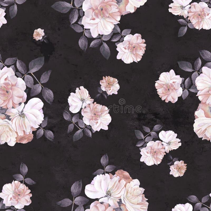 Σκοτεινό άνευ ραφής σχέδιο watercolor λουλουδιών τριαντάφυλλων διανυσματική απεικόνιση