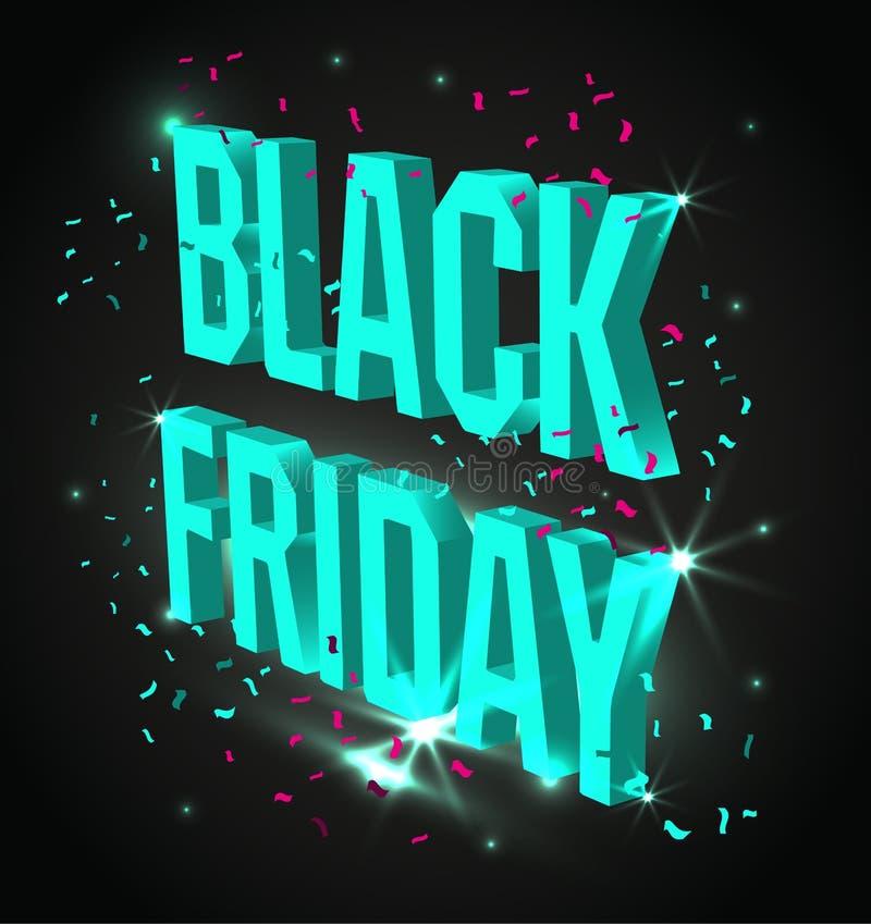 Σκοτεινό έμβλημα για τη μαύρη πώληση Παρασκευής Σύγχρονος φωτεινός πίνακας διαφημίσεων νέου στο μαύρο υπόβαθρο Έννοια της διαφήμι διανυσματική απεικόνιση