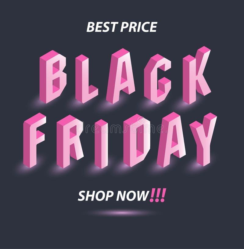 Σκοτεινό έμβλημα για τη μαύρη πώληση Παρασκευής Isometric ρόδινος φωτεινός πίνακας διαφημίσεων κειμένων στο γκρίζο υπόβαθρο Έννοι ελεύθερη απεικόνιση δικαιώματος