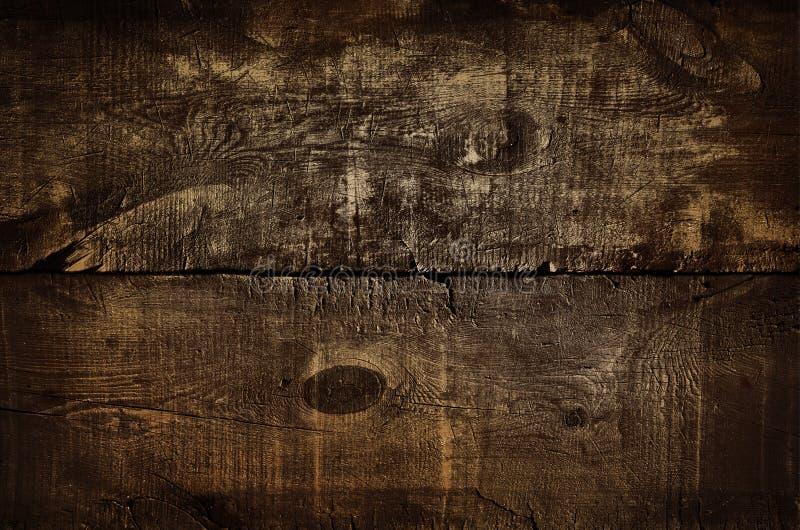 Σκοτεινό αγροτικό χρυσό υπόβαθρο τοίχων, σύσταση του παλαιού επιχρυσωμένου τοπ πίνακα Ξύλινη σύσταση grunge, τοπ άποψη του καφετι στοκ φωτογραφίες