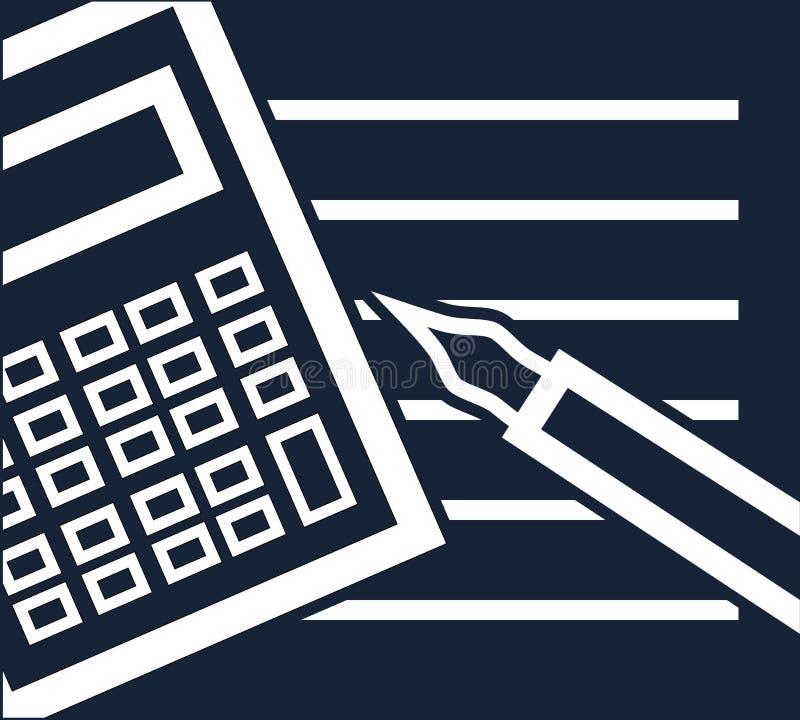 Σκοτεινό απλό διανυσματικό πρότυπο με τον υπολογιστή, τη μάνδρα και τη σημείωση για τη χρηματοδότηση, υπολογισμοί, επιχείρηση, οι απεικόνιση αποθεμάτων
