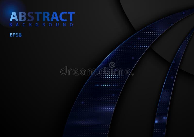 Σκοτεινό αφηρημένο υπόβαθρο τεχνολογίας με τα μπλε στοιχεία ελεύθερη απεικόνιση δικαιώματος