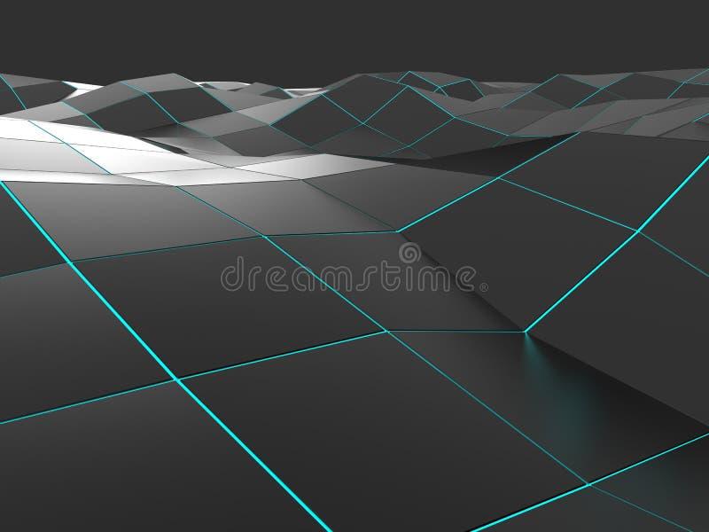 Σκοτεινό αφηρημένο χαμηλό πολυ κύμα διανυσματική απεικόνιση