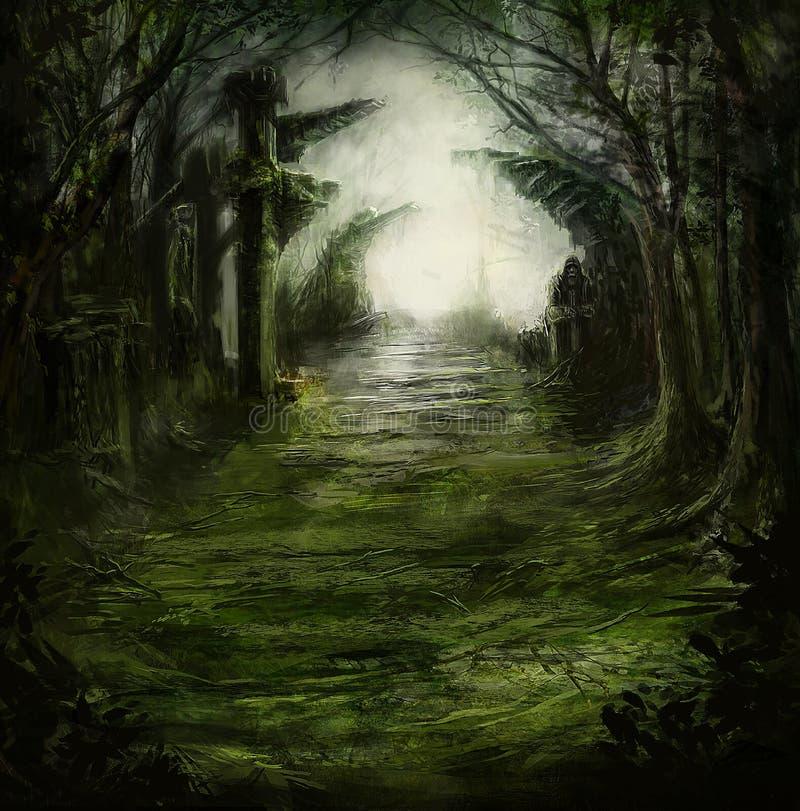 Σκοτεινό βαθύ απαίσιο δάσος φαντασίας διανυσματική απεικόνιση