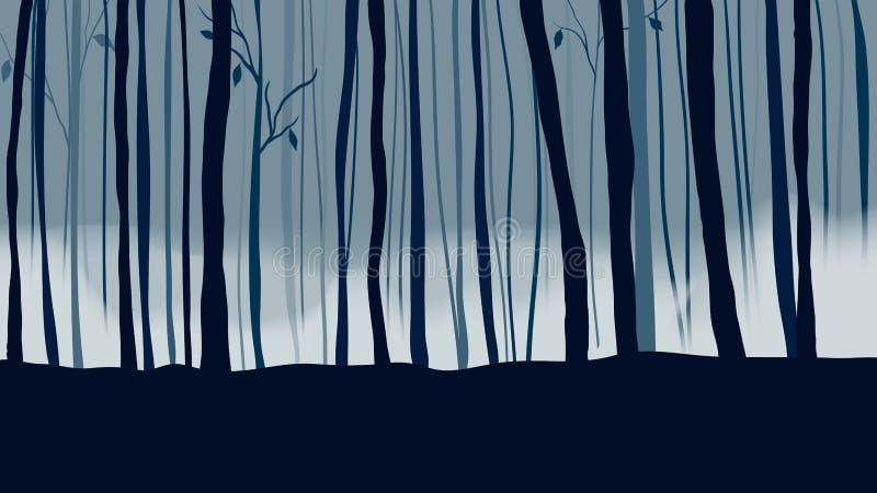 Σκοτεινό δάσος με την υδρονέφωση και την ομίχλη διανυσματική απεικόνιση