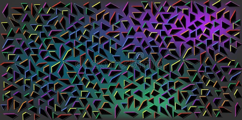 Σκοτεινό διάνυσμα χρωμάτων των μικρών μαύρων τριγώνων στο ζωηρόχρωμο υπόβαθρο Απεικόνιση της αφηρημένης σύστασης των τριγώνων Σχέ διανυσματική απεικόνιση