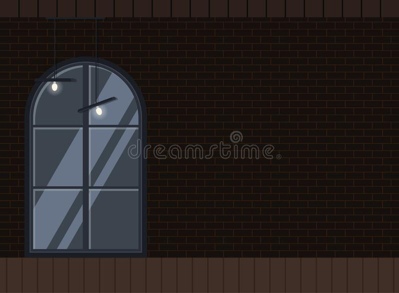 Σκοτεινό εσωτερικό βιομηχανικό επίπεδο σχέδιο υποβάθρου σοφιτών απεικόνιση αποθεμάτων