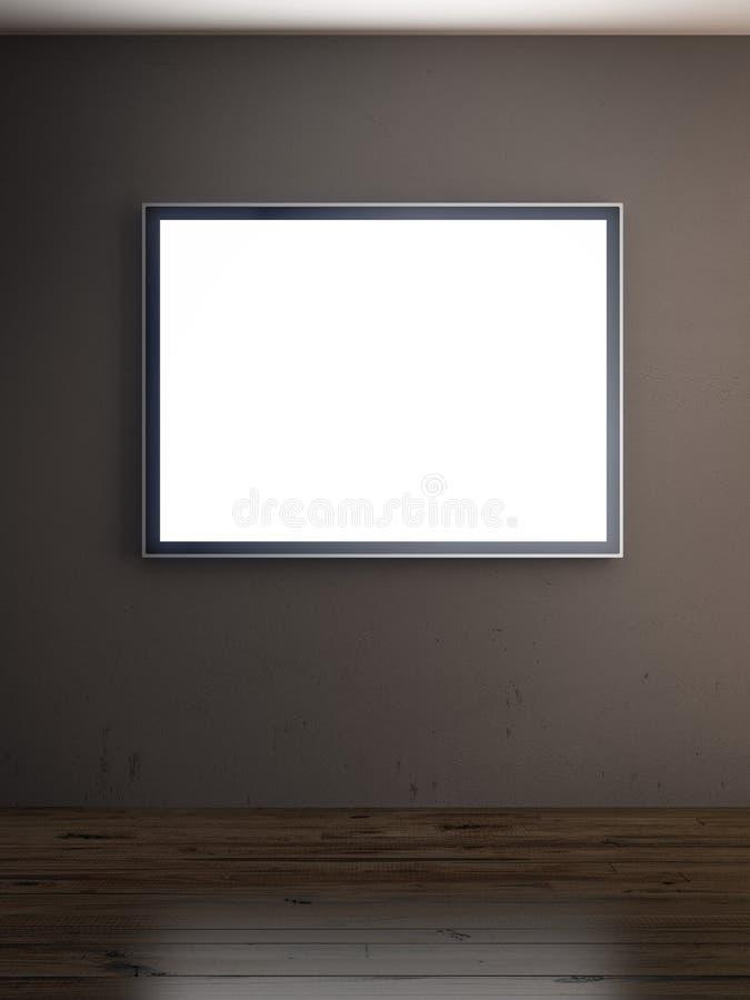 Σκοτεινό εσωτερικό με τη TV ελεύθερη απεικόνιση δικαιώματος