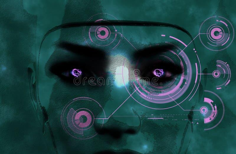 Σκοτεινό θηλυκό πρόσωπο ρομπότ διανυσματική απεικόνιση