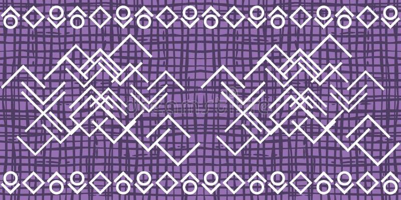 Σκοτεινό ιώδες ανώμαλο σχέδιο πλέγματος με την άσπρη διακόσμηση απεικόνιση αποθεμάτων