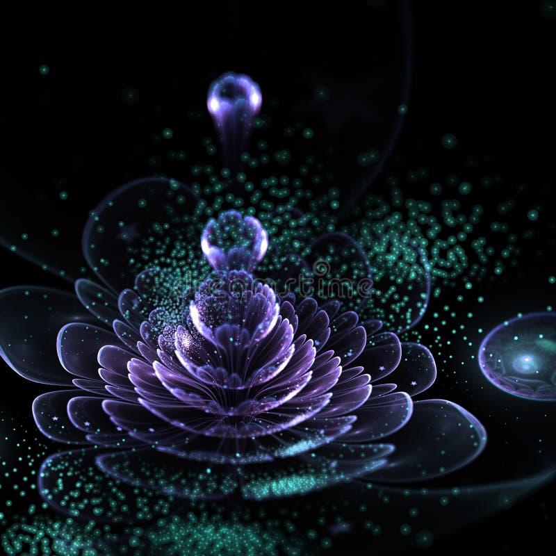 Σκοτεινό ιώδες fractal λουλούδι με τη γύρη διανυσματική απεικόνιση