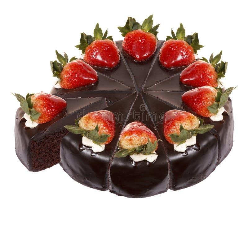 Σκοτεινό κέικ φραουλών σοκολάτας στοκ εικόνα με δικαίωμα ελεύθερης χρήσης