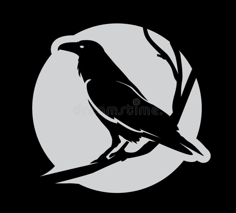 Σκοτεινό κακό εραλδικό κοράκι με τα φτερά απεικόνιση αποθεμάτων