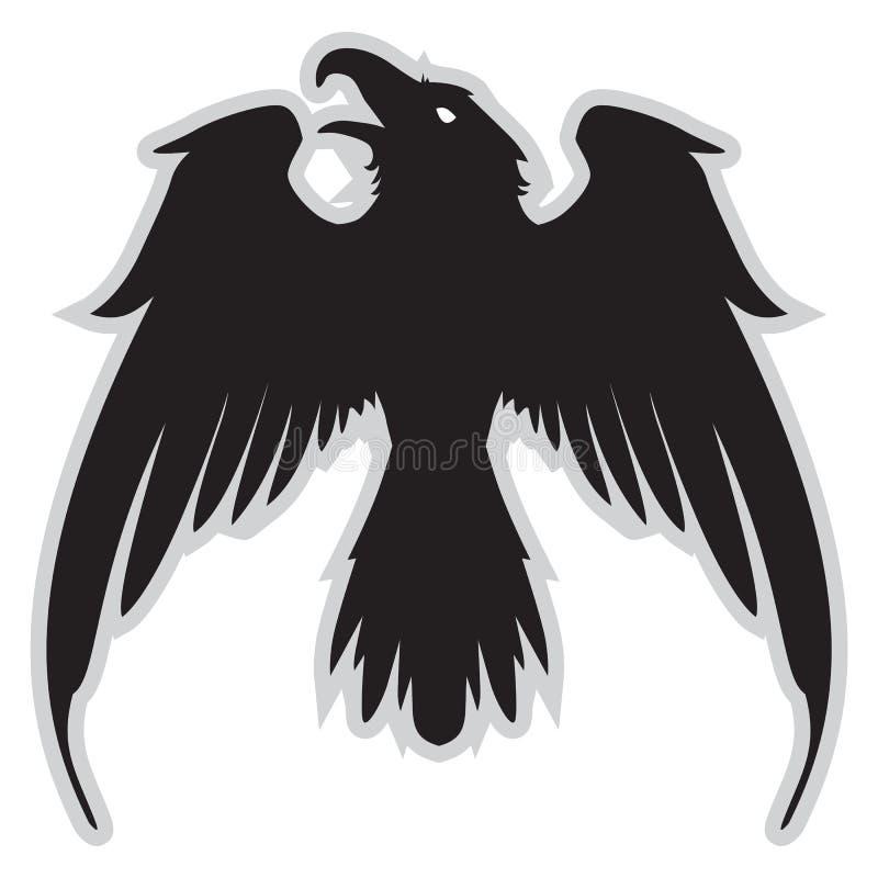Σκοτεινό κακό εραλδικό κοράκι με τα φτερά διανυσματική απεικόνιση