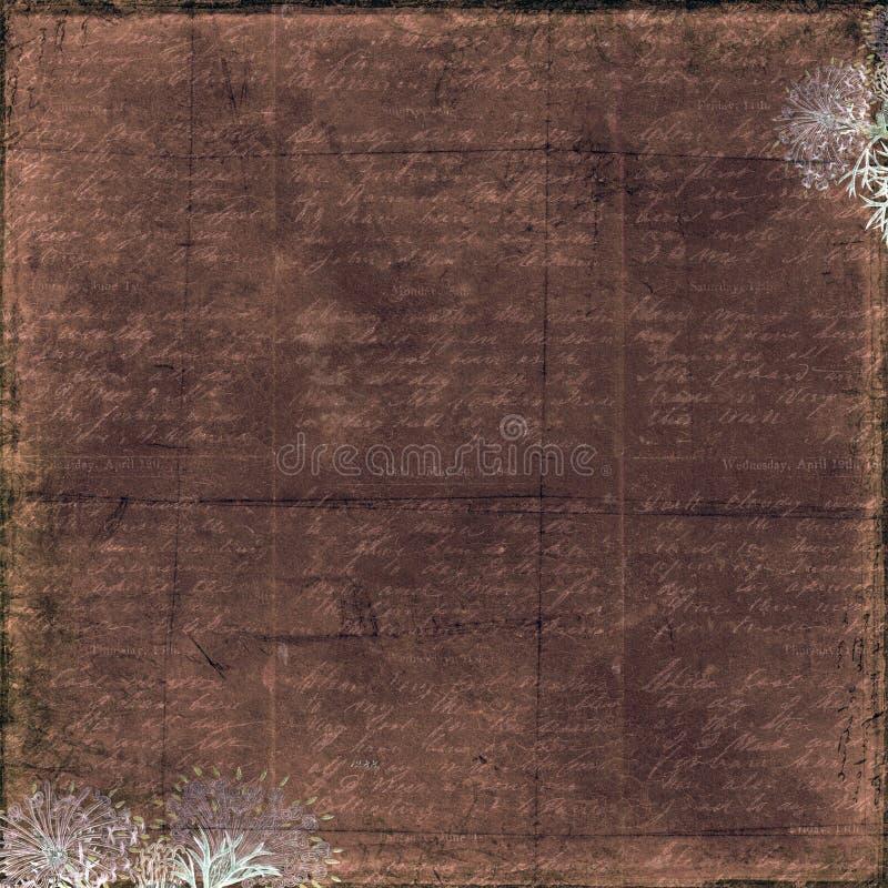 Σκοτεινό καφετί βρώμικο εκλεκτής ποιότητας υπόβαθρο κειμένων με το floral πλαίσιο στοκ εικόνα