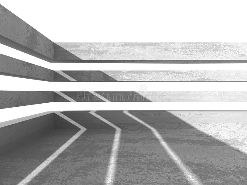 σκοτεινό κενό δωμάτιο Συγκεκριμένοι σκουριασμένοι τοίχοι αρχιτεκτονικής βαθύ σχέδιο πυξίδων ανασκόπησης μπλε διανυσματική απεικόνιση