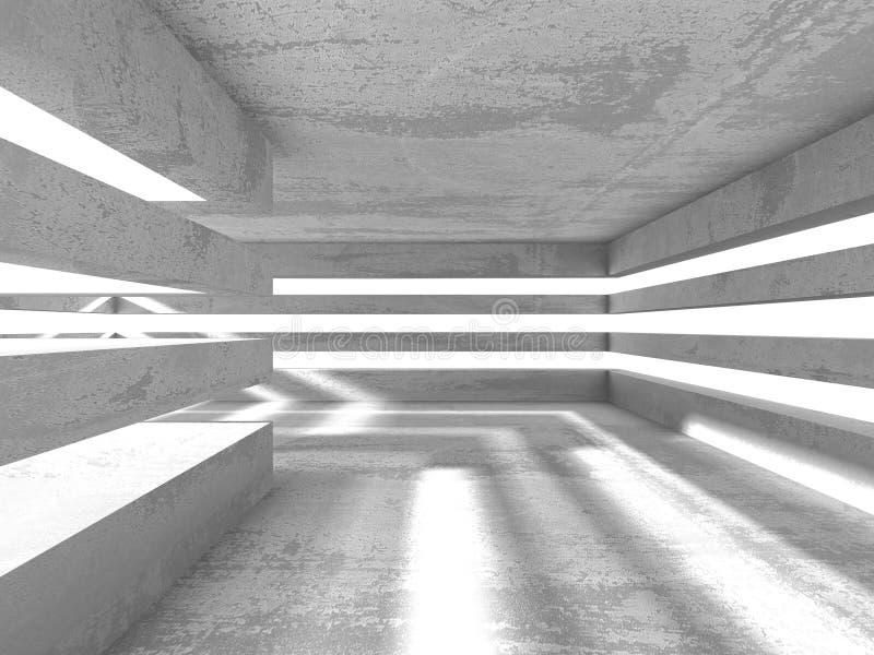 σκοτεινό κενό δωμάτιο Συγκεκριμένοι σκουριασμένοι τοίχοι αρχιτεκτονικής βαθύ σχέδιο πυξίδων ανασκόπησης μπλε ελεύθερη απεικόνιση δικαιώματος