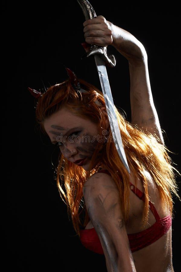 Download σκοτεινό μαχαίρι κοριτσι στοκ εικόνες. εικόνα από φαντασία - 2229562
