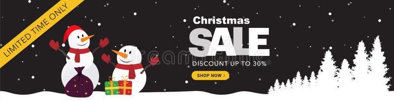 Σκοτεινό οριζόντιο έμβλημα πώλησης Χριστουγέννων στοκ φωτογραφία