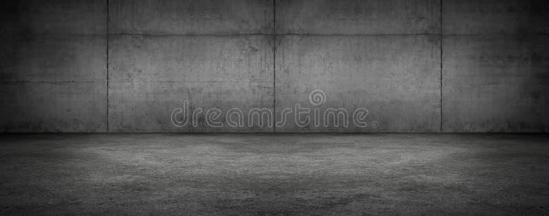 Σκοτεινό πανοραμικό κενό δωμάτιο συμπαγών τοίχων με το πάτωμα στοκ εικόνα