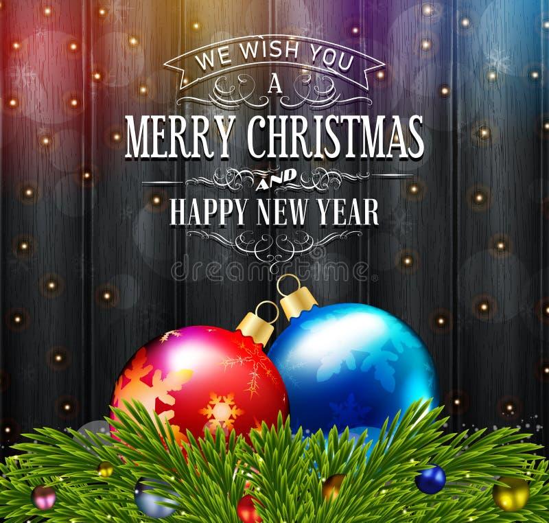 Σκοτεινό παλαιός-ορισμένο Χριστούγεννα υπόβαθρο με το δέντρο και τις σφαίρες έλατου ελεύθερη απεικόνιση δικαιώματος
