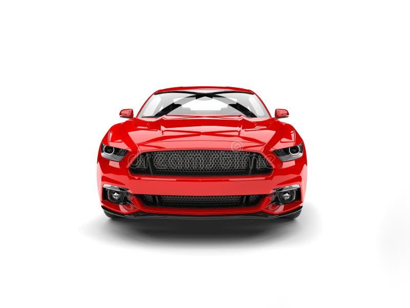 Σκοτεινό πορφυρό κόκκινο σύγχρονο αυτοκίνητο αθλητικών μυών - μπροστινή άποψη διανυσματική απεικόνιση