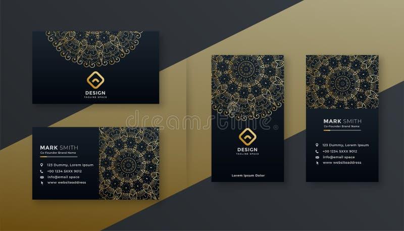 Σκοτεινό πρότυπο σχεδίου επαγγελματικών καρτών πολυτέλειας ασφαλίστρου διανυσματική απεικόνιση