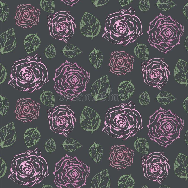 Σκοτεινό σχέδιο με χλωμό - ρόδινα τριαντάφυλλα και πράσινα φύλλα απεικόνιση αποθεμάτων