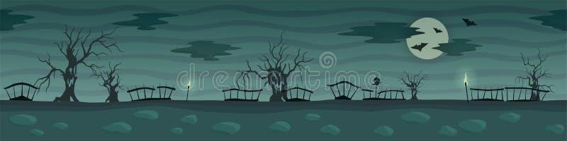 Σκοτεινό τοπίο κινούμενων σχεδίων με τα ανατριχιαστικά δέντρα και το φεγγάρι ελεύθερη απεικόνιση δικαιώματος