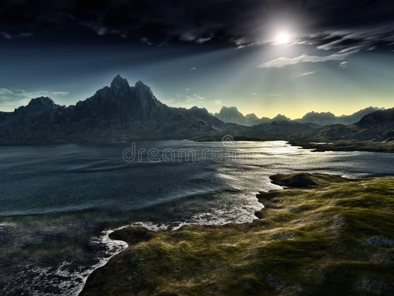 σκοτεινό τοπίο φαντασίας διανυσματική απεικόνιση