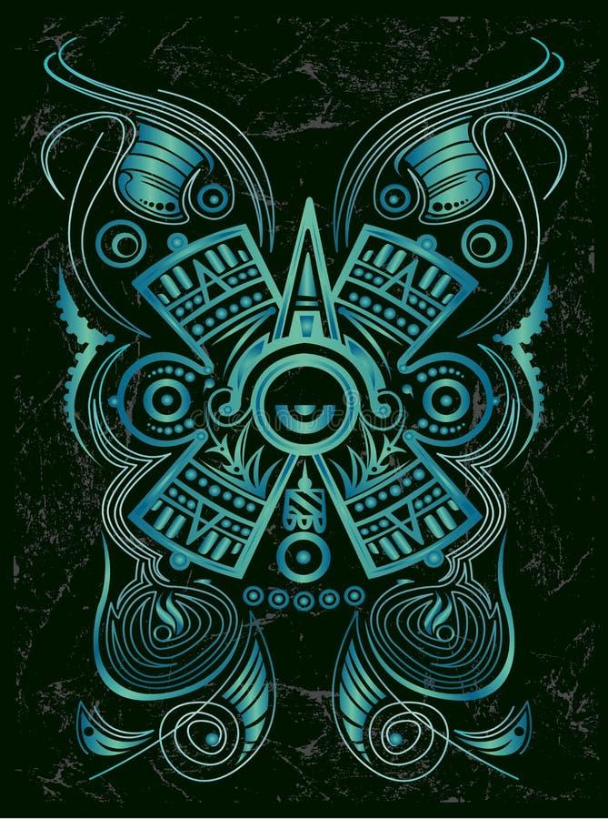 Σκοτεινό τυποποιημένο των Μάγια σύμβολο - δερματοστιξία απεικόνιση αποθεμάτων