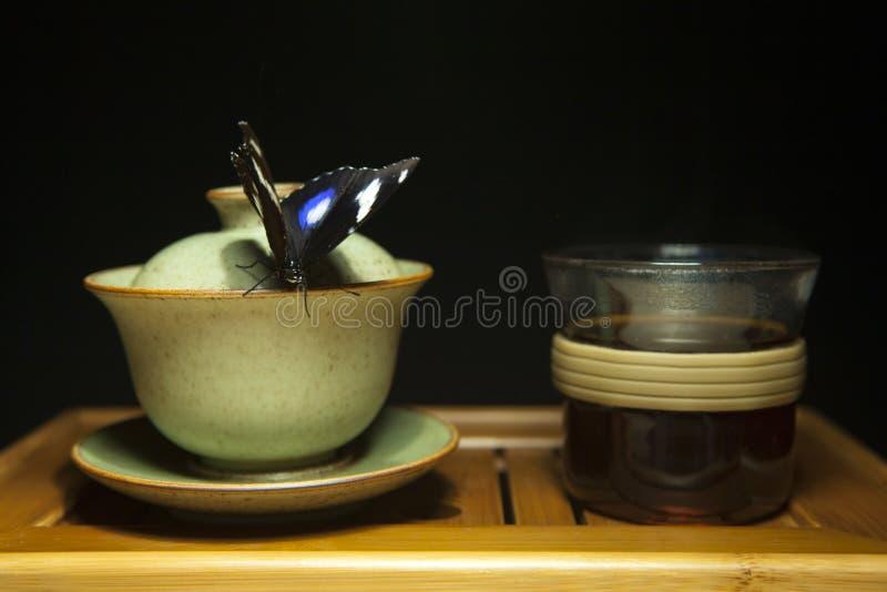 Σκοτεινό υπόβαθρο γραφείων μπαμπού πεταλούδων φλυτζανιών τσαγιού στοκ εικόνα