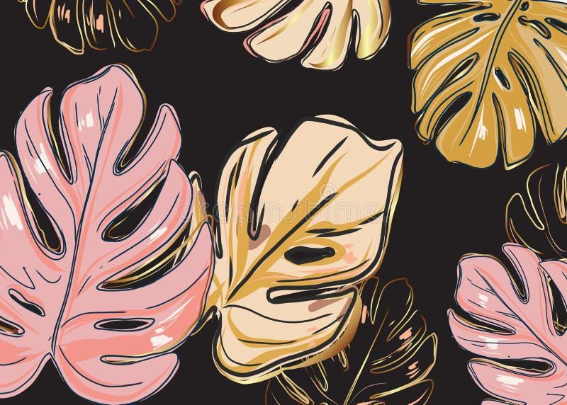 Σκοτεινό υπόβαθρο και ρόδινα χρυσά φύλλα monstera Διανυσματικό σχέδιο προτύπων καρτών πρόσκλησης, με το ροδαλό χρυσό φύλλωμα ζουγ διανυσματική απεικόνιση