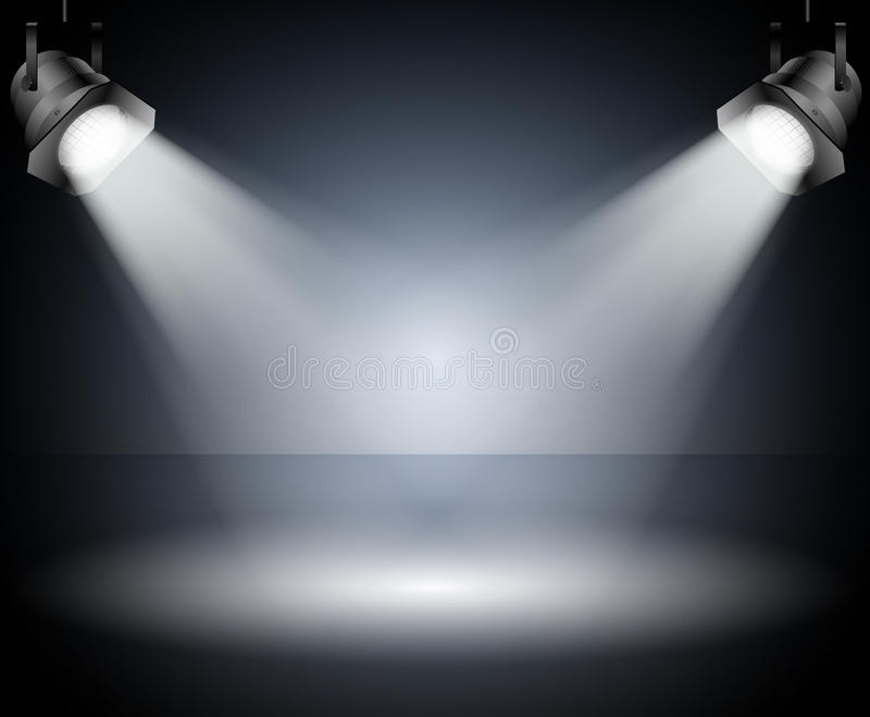 Σκοτεινό υπόβαθρο με τα επίκεντρα. Στούντιο. απεικόνιση αποθεμάτων