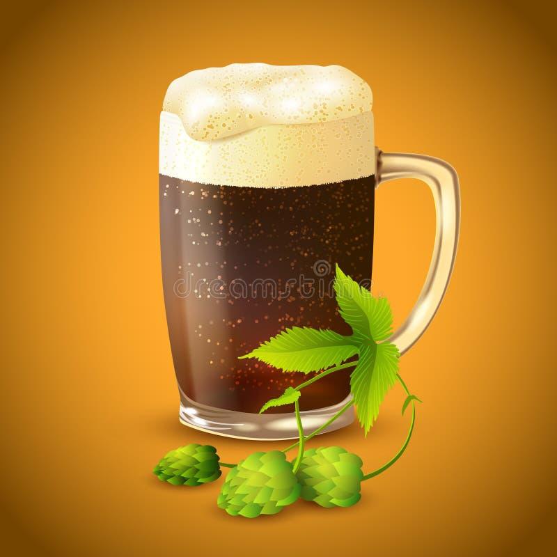 Σκοτεινό υπόβαθρο μπύρας και λυκίσκου διανυσματική απεικόνιση