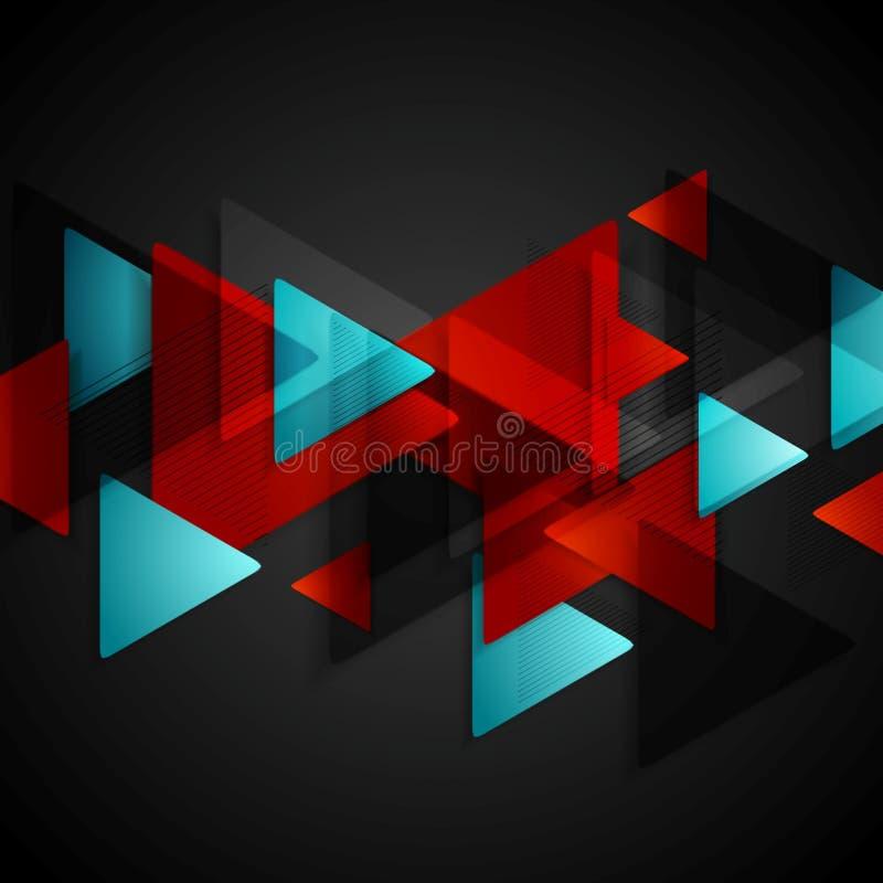 Σκοτεινό υπόβαθρο τεχνολογίας με τα κόκκινα μπλε τρίγωνα διανυσματική απεικόνιση