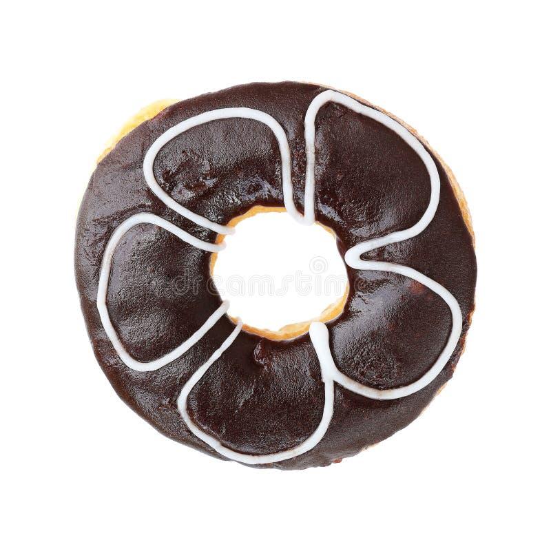 σκοτεινό doughnut σοκολάτας που απομονώνεται στο λευκό στοκ εικόνα