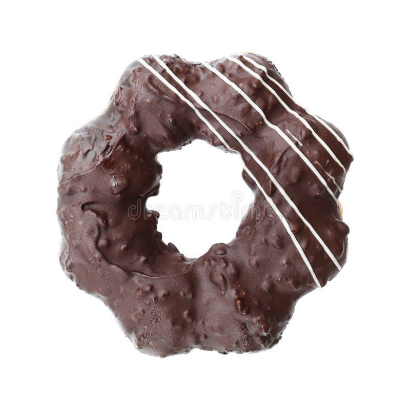 σκοτεινό doughnut σοκολάτας που απομονώνεται στο λευκό στοκ φωτογραφία