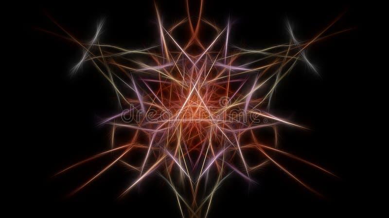 σκοτεινό fractal λουλουδιών Fractal σειρά συμμετρίας μεταξιού διανυσματική απεικόνιση