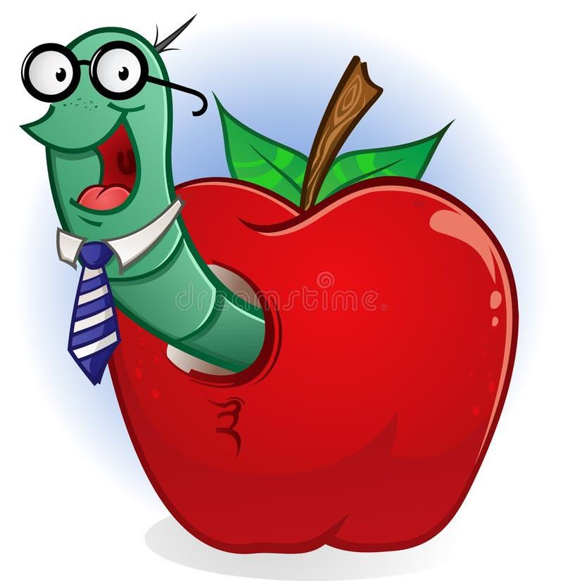 σκουλήκι βιβλίων μήλων διανυσματική απεικόνιση
