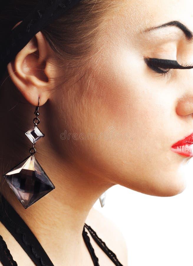 σκουλαρίκι eyelashes ψεύτικο στοκ εικόνα με δικαίωμα ελεύθερης χρήσης