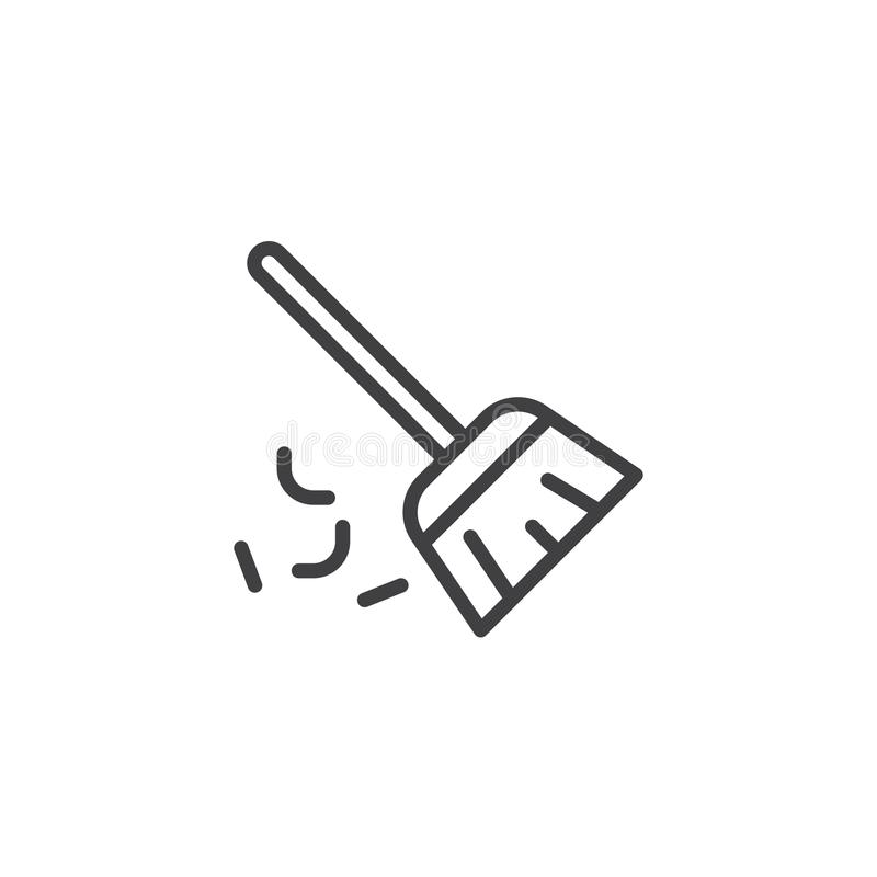 Σκουπίζοντας εικονίδιο περιλήψεων σκουπών απεικόνιση αποθεμάτων