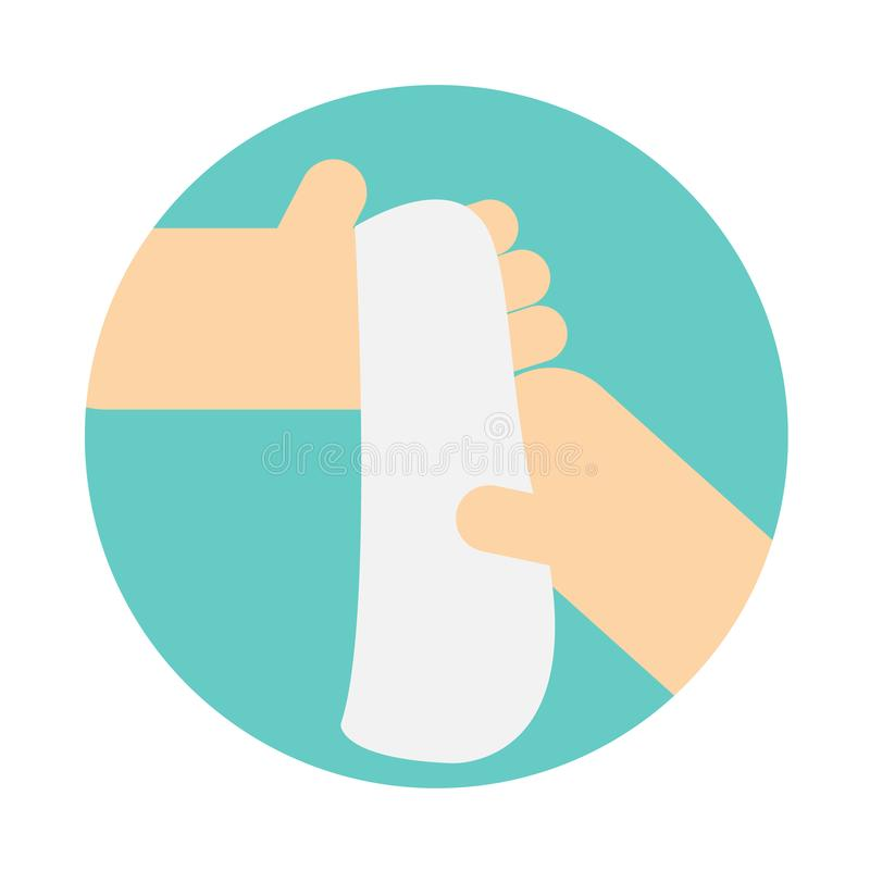 Σκουπίζοντας χέρι με την πετσέτα χεριών ελεύθερη απεικόνιση δικαιώματος