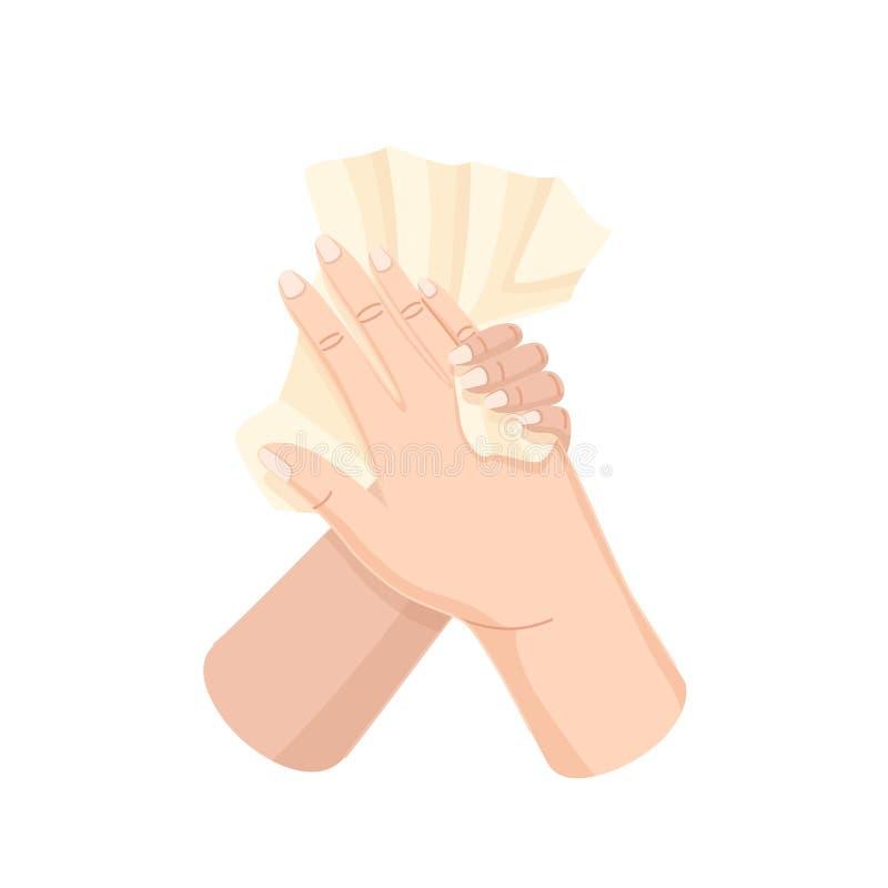 Σκουπίστε την πετσέτα χεριών και δάχτυλων μετά από την πλύση διαδικασίας, υγειονομική υγιεινή ελεύθερη απεικόνιση δικαιώματος