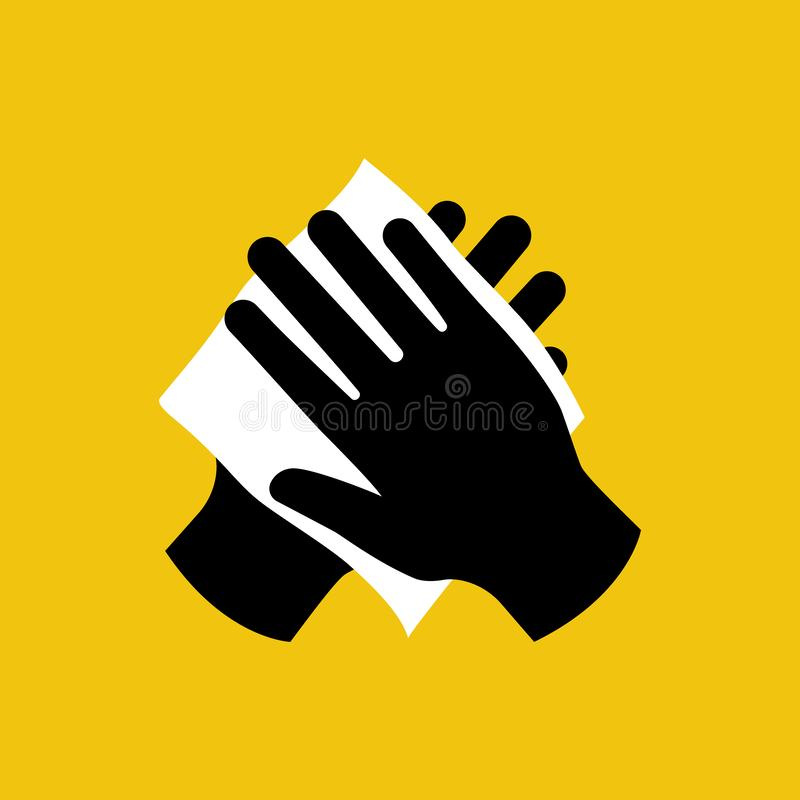 Σκουπίστε το χέρι σας με το υγρό μαύρο εικονίδιο υφασμάτων διανυσματική απεικόνιση